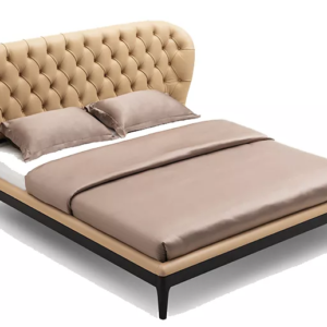 Deep Buttoned Leather Bed